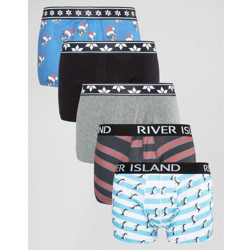 trunks with christmas animal print in green 5 pack - green od producenta River island