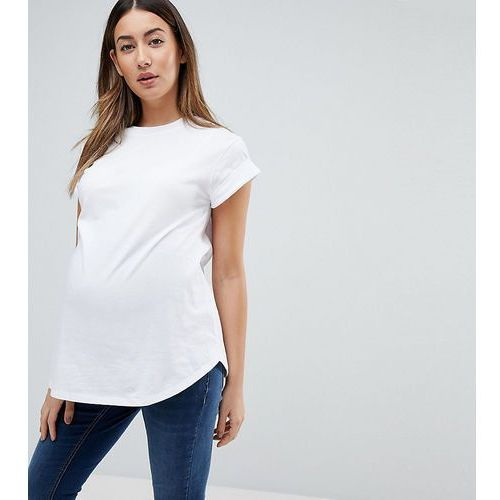 t-shirt in boyfriend fit with rolled sleeve and curved hem - white marki Asos maternity