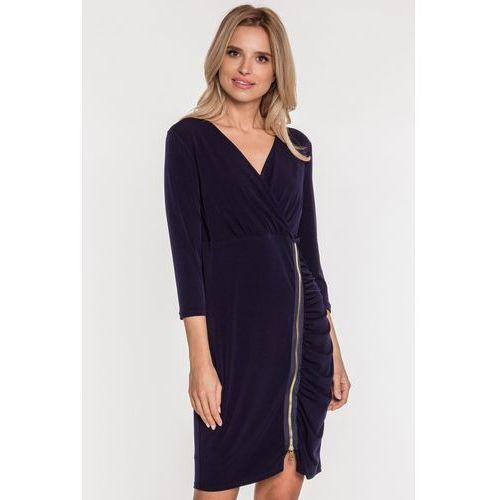 Margo collection Granatowa sukienka z ozdobnym suwakiem -