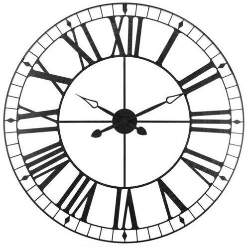 Atmosphera créateur d'intérieur Okrągły zegar, ścienny, wiszący, styl vintage, 88 cm średnicy, kolor czarny, cyfry rzymskie, do domu i biura, stylowy, (3560239223764)