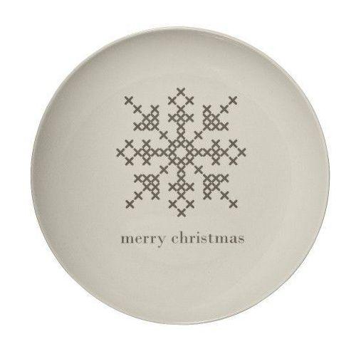 Świąteczny talerz obiadowy ze śnieżynką, cross - marki Bloomingville