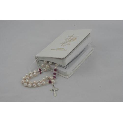 Luksusowy różaniec snow white - perły i rubiny - idealny na prezent marki Różaniecart - OKAZJE