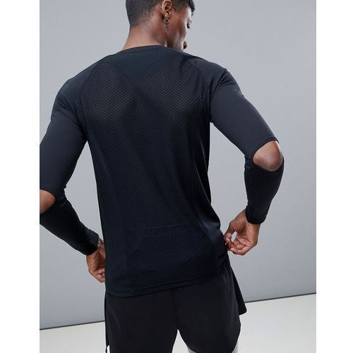 ASOS 4505 long sleeve t-shirt with elbow detail and breathable mesh - Black, kolor czarny