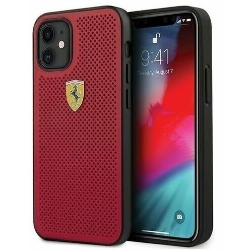 "Ferrari fespehcp12sre iphone 12 mini 5,4"" czerwony/red hardcase on track perforated (3700740479599)"