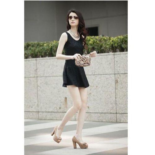 Czarna Koronkowa Mini Sukienka bez Rękawów, kolor czarny