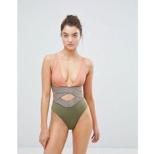River Island Saddle Stitch Cut Out Detail Swimsuit - Multi