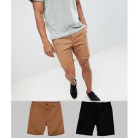 Asos design 2 pack slim chino shorts in black & camel save - multi