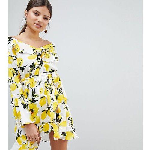exclusive off shoulder lemon print dress - multi marki Boohoo