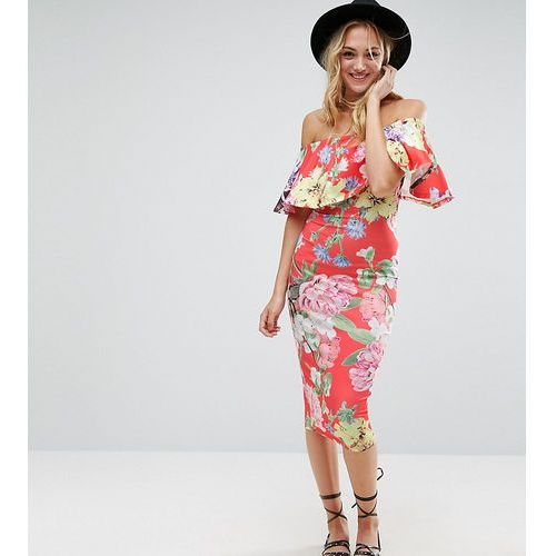 Asos tall floral ruffle bardot off shoulder midi dress - red