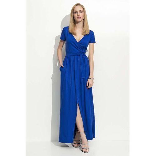 Chabrowa sukienka letnia maxi na zakładkę marki Makadamia