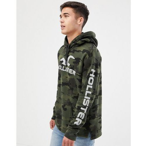 sports back and sleeve print logo hoodie in green camo - green marki Hollister