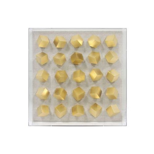 HK Living Rama artystyczna wykonana z pleksi ze złotymi kostkami, rozmiar L AWD8852