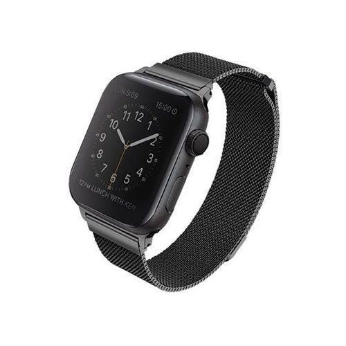 Uniq pasek dante apple watch series 4 44mm stainless steel czarny/midnight black - czarny \ watch 4 44mm (8886463669709)