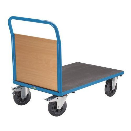 Wózek platformowy, 1 ścianka czołowa, ogumienie pełne, dł. x szer. 1050x700 mm, marki Eurokraft active green