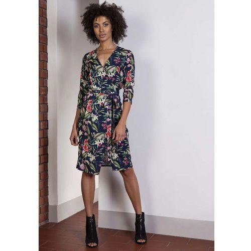 Sukienka w Kwiaty z Kopertowym Dekoltem, kopertowa