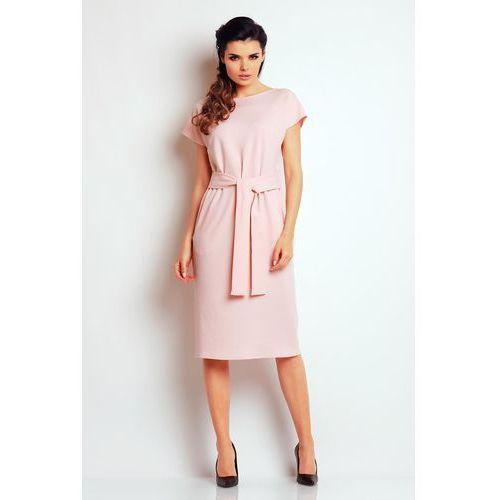 Awama Jasno różowa prosta midi sukienka z wiązanym paskiem