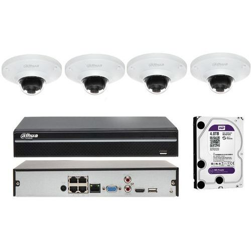 Zestaw do monitoringu na 4 kamery z obiektywem typu rybie oko