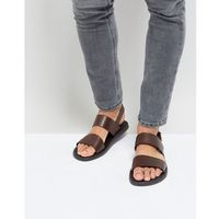 Silver street double strap sandals in brown leather - brown