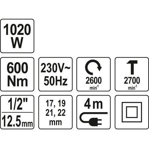 """Elektryczny klucz udarowy 1/2"""" 1020w/600nm yt-82021 - zyskaj rabat 30 zł marki Yato"""