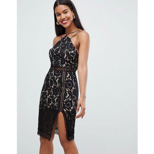 ca4bcce27f Rare London strappy lace illusion midi dress - Black