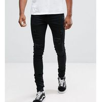 tall muscle fit jeans in black with distressing - black, Sixth june