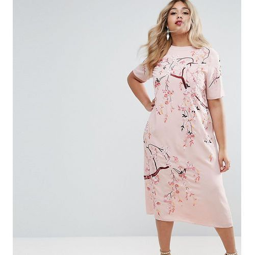Asos curve  embroidered enchanted midi shift dress - pink