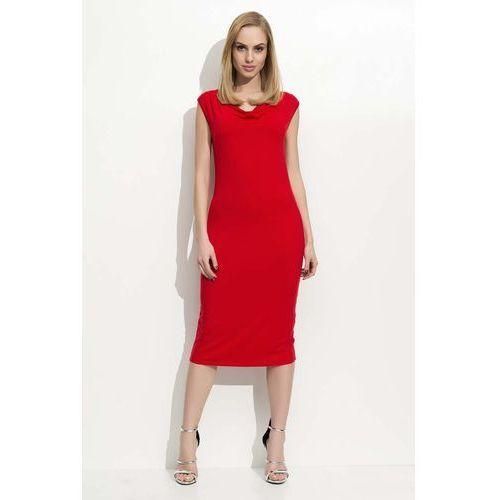 Makadamia Czerwona sukienka midi z lejącym dekoltem