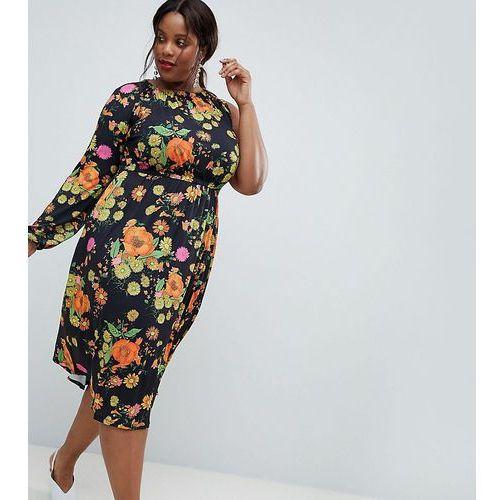 Asos design curve one shoulder balloon sleeve midi dress in floral print - multi marki Asos curve
