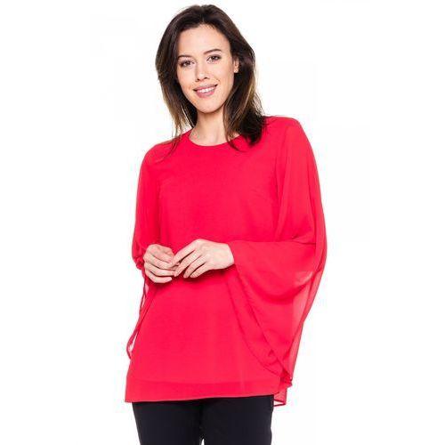 Bialcon Czerwona bluzka z szerokim rękawem -
