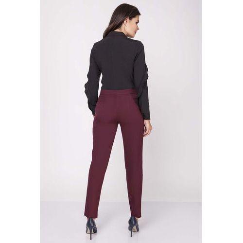 Bordowe Klasyczne Eleganckie Spodnie w Kant, NA236dre