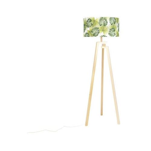 Qazqa Designerska lampa podłogowa trójnóg drewno naturalne klosz w liście - cortina
