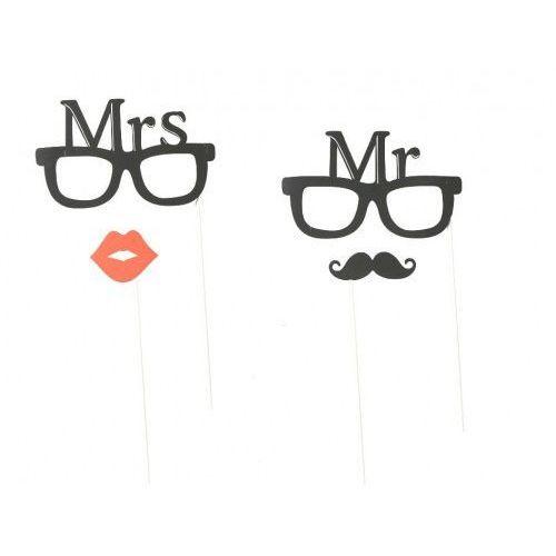 """Out of the blue Fotogadżet patyczki """"okulary mr mrs"""", 4 szt"""