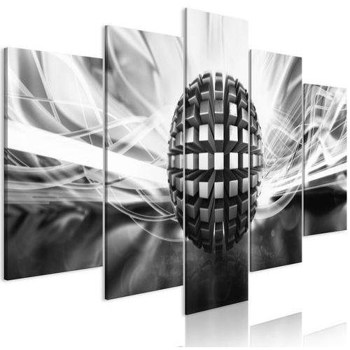 Obraz - metalowa kula (5-częściowy) szeroki czarno-biały marki Artgeist