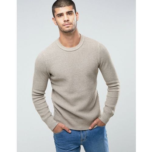 Selected Homme Knitted Jumper With Ribbed Body In 100% Cotton - Cream