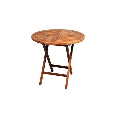 DIVERO okrągły stolik wykonany z drewna tekowego, Ø 80 cm