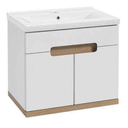 Zestaw szafka z umywalką Deftrans Smile 60 cm biała/buk truflowy
