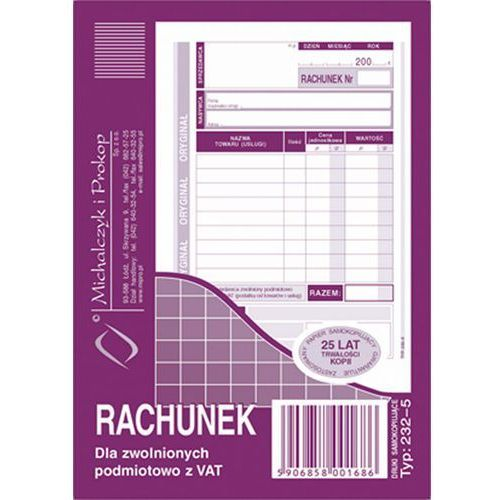 Michalczyk i prokop Rachunek dla zwol. podmiot. z vat michalczyk&prokop 232-5 - a6 (oryginał+kopia)