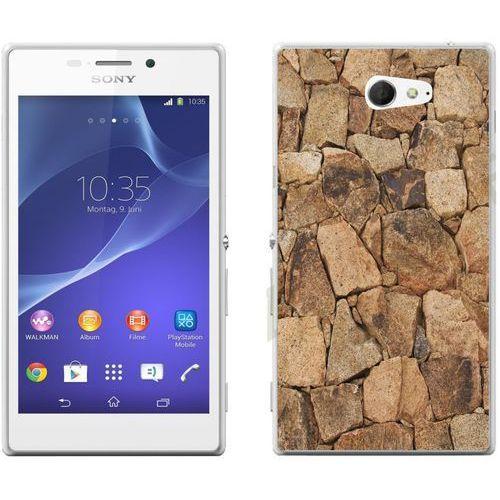 Sony xperia m2 / m2 aqua - etui na telefon - kolekcja kamień - beżowy kamień - d20 marki Zolti