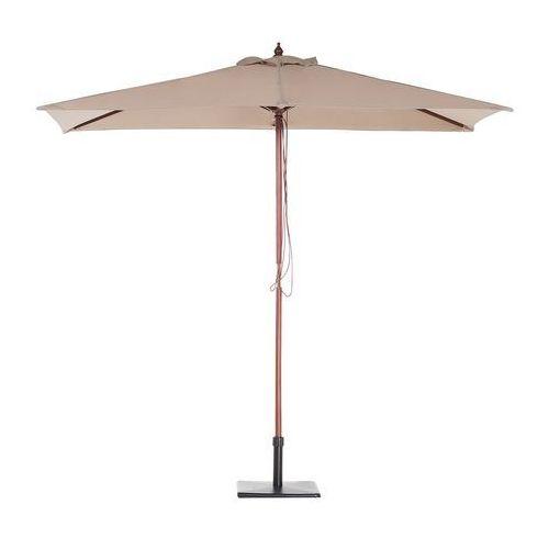 Beliani Parasol ogrodowy - mokka - 144 x 195 cm - drewniany - flamenco (7105271511682)
