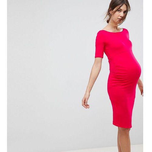 ASOS Maternity Bardot Dress With Half Sleeve - Pink