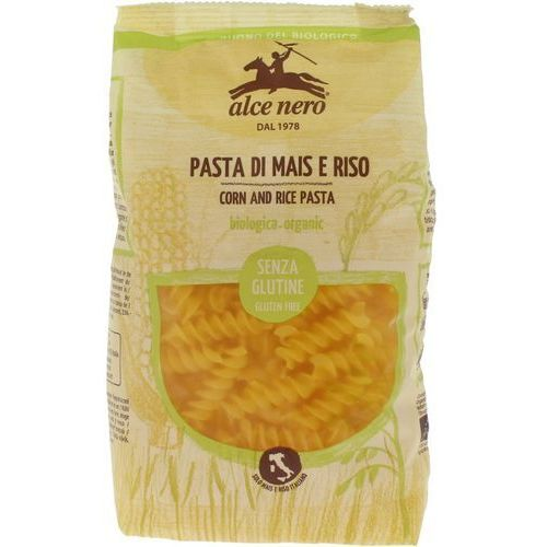 Alce nero (włoskie produkty) Makaron fusilli (kukurydziano - ryżowy) bezglutenowy bio 250 g - alce nero
