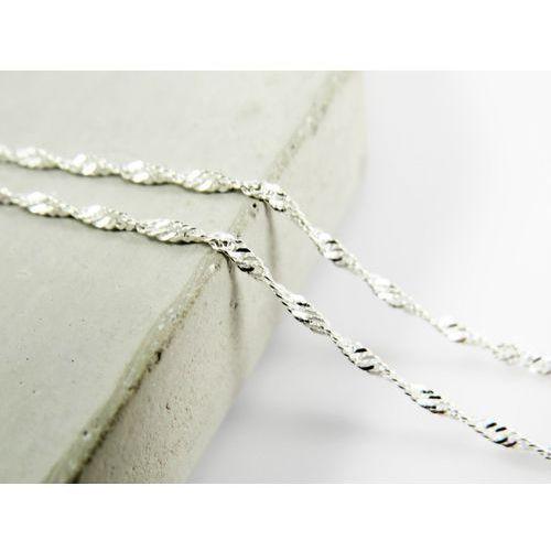 Srebrny (925) łańcuszek SINGAPUR 45 cm, kolor szary