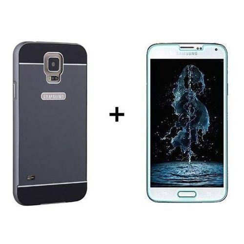Zestaw | Mirror Bumper Metal Case Czarny + Szkło ochronne Perfect Glass | Etui dla Samsung Galaxy S5 / S5 Neo - produkt z kategorii- Futerały i pokrowce do telefonów