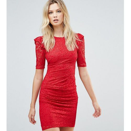 lace v back bodycon mini dress with shoulder ruffle - red marki Asos tall
