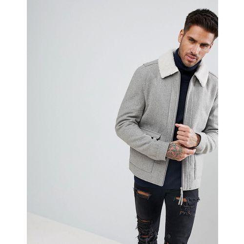 New look wool aviator jacket with borg collar in grey - grey