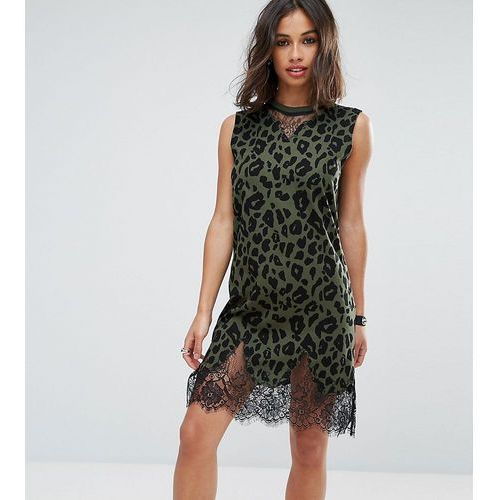 ASOS PETITE Sleeveless T-Shirt Dress with Lace Inserts in Khaki Leopard Print - Green