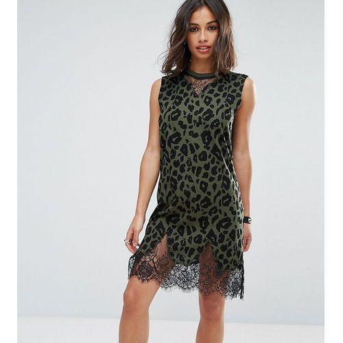 sleeveless t-shirt dress with lace inserts in khaki leopard print - green marki Asos petite