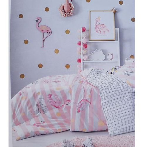 Pościel satynowa 160x200 wzór flamingi na różu plus kratka