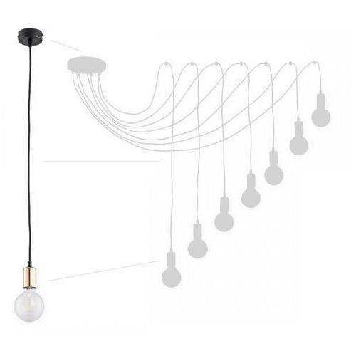 Lemir Maris O2757 W7 CZA + MIE lampa wisząca zwis pająk 7x60W E27 czarny mat / miedź, kolor Czarny