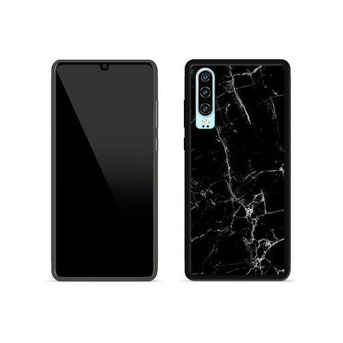 Huawei p30 - etui na telefon aluminum fantastic - czarny marmur marki Etuo aluminum fantastic